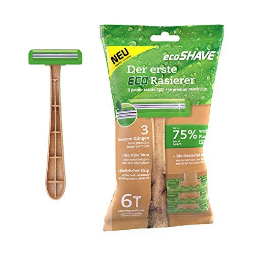 EcoShave nachhaltiger Einwegrasierer, 75 Prozent weniger Plastik, 3 Premium Klingen, Rasierer nass für Damen und Herren (6 Rasierer)