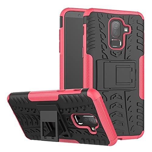 Cáscara del teléfono Estuche Protector para Samsung Galaxy J8 2018, TPU + PC Bumper Híbrido Híbrido de Grado Militar, Caja del teléfono a Prueba de Golpes con pienstero Funda Protectora