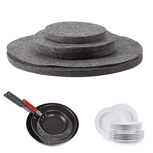 NCONCO 24pcs/lot Separador de placas de fieltro suave China Almacenamiento Separador Protectores de Plato Protectores Almohadillas para Utensilios de Cocina