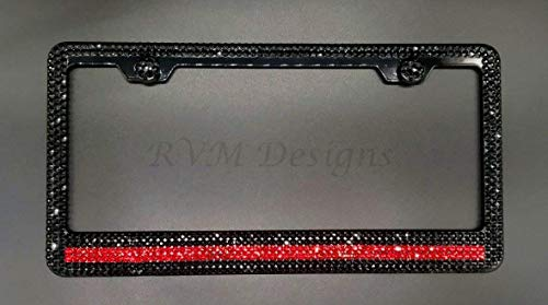 Bling Thin Red Line 6 Row Black Metal License Plate Frame with Jet Black Swarovski Crystals - Bling -  RVMdesigns