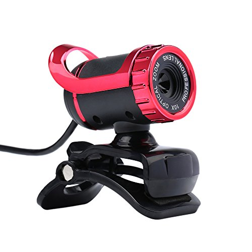 KKmoon Webcam Kamera HD USB 2,0 50M Pixel 360Grad verstellbar mit integriertem Mikrofon für Skype, für Büro, Computer, Laptop rot