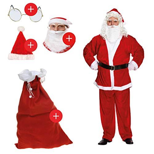 L+H Nikolaus Kostüm im Set in Premium Qualität | 5-teilig | 1x Anzug, 1x Mütze, 1x Bart, 1x Brille und 1x Geschenksack | Weihnachtsmann Mantel universalgröße für Erwachsene | Santa Claus Verkleidung