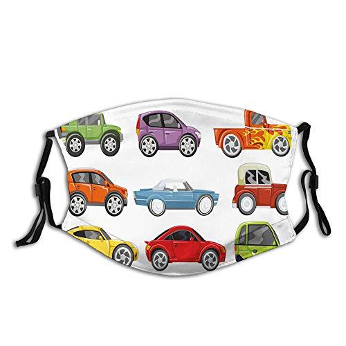 ComfortablePrintedmask,Nursery, Race Cars Monster Truck Classics Urban Jeep Speed Automobiles Print, Yellow OrangeWindproofFacialdecorationsformanandwoman