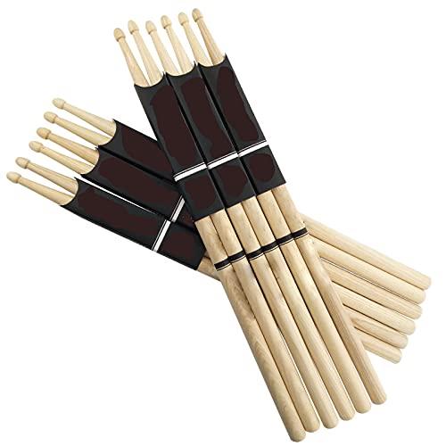6 Pares De Baquetas,Drumsticks,Baquetas De Madera De Arce 5A,7A para Practicar En El Escenario con Un Grosor Moderado Y Buen Agarre para Tambores