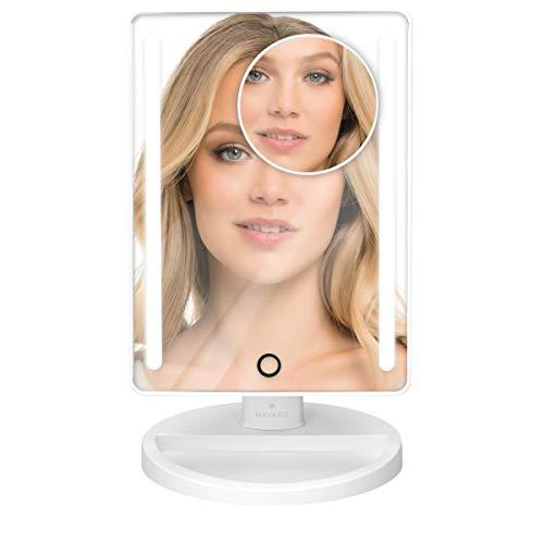 Navaris LED Kosmetikspiegel groß mit 10fach Vergrößerungsspiegel klein - Schminkspiegel Set Make Up Schmink Spiegel Standspiegel beleuchtet - Weiß