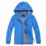 Jingle Bongala Boys Girls Lightweight Breathable Raincoat Waterproof Hooded Rain Jacket Windbreaker Easy to Fold-Lake-130