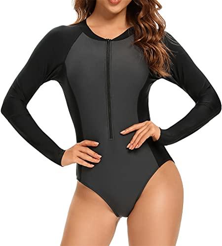 EUDOLAH Femme Combinaison de Plongée Maillot de Bain Une pièce Amincissant Manches Longues Veste de Surf Swimwear Natation (L,B Noir Gris)