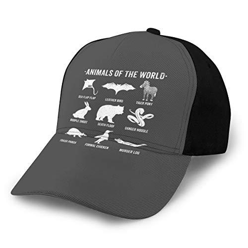 Gorra de béisbol con diseño de Animales raros del Mundo, Color Negro