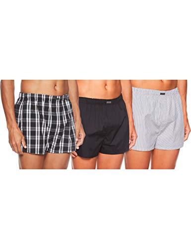 Calvin Klein Herren BOXER WVN 3PK Boxershorts, Schwarz (Blk/Morgan Plaid/Montague Stripe Bms), Small (Herstellergröße: S)