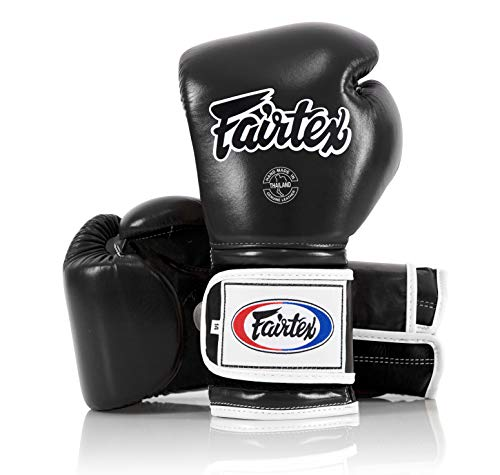 Fairtex Muay Thai Boxing Gloves BGV9 - Heavy Hitter Mexican Style - Minor Change Solid Black 12 14 16 oz. Training & Sparring Gloves for Kick Boxing MMA K1