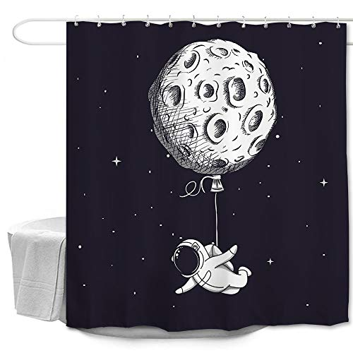 winolive Astronauten Duschvorhang Universum niedlicher Ballon Mond Stern schwarzer Stoff Stoff bedruckt Badezimmer Dekor Zubehör Badvorhang mit Haken