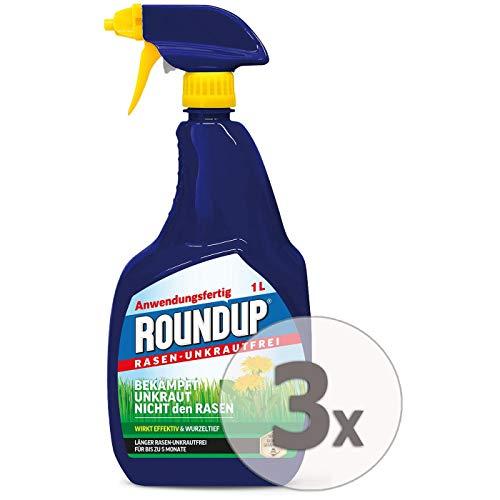 Roundup Rasen-Unkrautfrei AF Anwendungsfertig Unkrautvernichter Sparpaket, 3 x 1 Liter + Zeckenzange mit Lupe