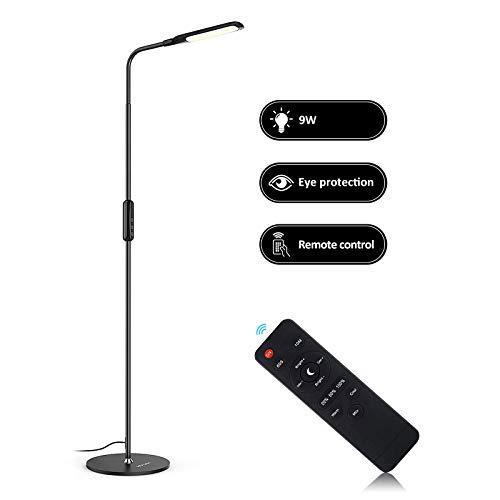 NACATIN LED Lámparas Modernas de Pie para Salón Inteligente con el Control Remoto, AC 100V - 240V/ 9W, con Cinco Tipo de Color, Cinco Temperaturas de Color Modo de Luz Nocturna y Bajo Consumo Negro