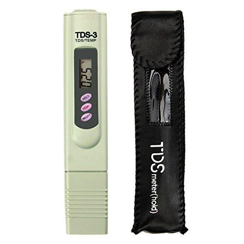 Yakamoz Mètre TDS-3 de l'Eau potable LCD Numérique Portable Testeur Mètre de Qualité de l'Eau Stylo de Température et PPM Testeur de Pureté de l'Eau 0-9990 PPM Eau Potable Culture Hydroponique (Ne teste pas PH)