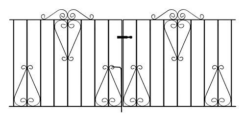 Classic Scroll Driveway Gates 2134mm (7ft) GAP x 914mm High wrought iron metal dual swing gate...