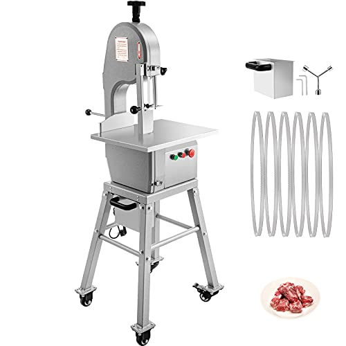 VEVOR 110V Bone Saw Machine 850W Frozen Meat Cutter 1.16HP Butcher Bandsaw Thickness Range 4-180mm Max Cutting Height 220mm Work Table 18.3x14.4inch Sawing Speed 19m/s with 6 Saw Blades & Mobile Base