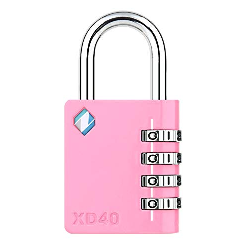 [ZARKER XD40] Padlock- 4 Digit Combination Lock for Gym, Sports, School & Employee Locker, Outdoor,Toolbox, Case, Fence and Storage - Metal & Steel - Easy to Set Your Own Combo - 1 Pack(Pink)