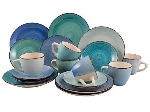 Kaffeeservice Kaffeegeschirr Geschirrset | 18-TLG. (6 Personen) | handbemaltes Steinzeug | Blau