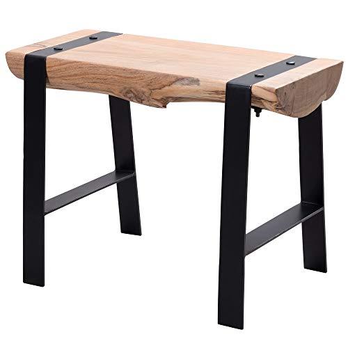 FineBuy Design Sitzhocker FB51034 60 x 45 x 28 cm Vollholz Akazie Hocker | Holzhocker mit Metallbeinen | Kleine Sitzbank Esszimmer | Beistellhocker Wohnzimmer | Esszimmerhocker massiv Baumstamm
