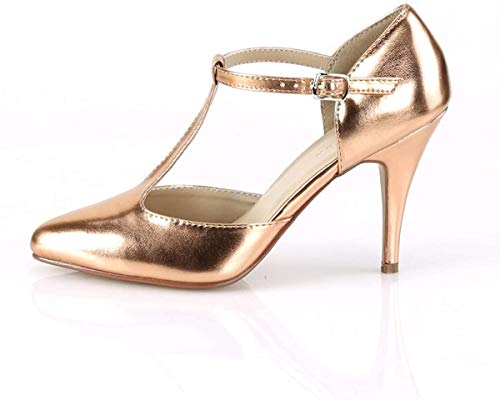 Pleaser Damen VANITY-415 High Heels D'Orsay Pumps PU Rose Gold 44 EU