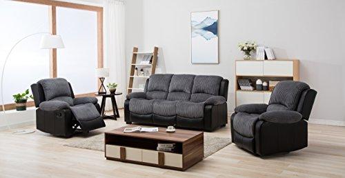 New Marsha Fabric Reclining Sofa Set Black and Grey 3 + 1 + 1 Armchairs