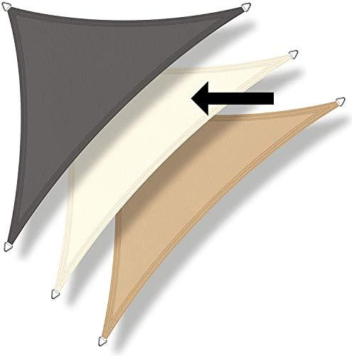 bonsport Sonnensegel Dreieck wasserdicht 4x4x4 m Creme - Sonnenschutz dreieckig mit UV-Schutz für Garten, Balkon Terrasse, Camping