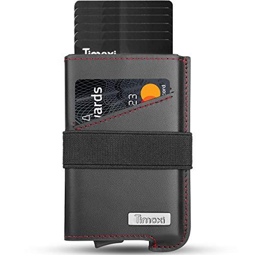 Timoxi Kartenetui Kreditkartenetui Echtes Leder Geldbörse Slim Wallet mit RFID Schutz bis 9 Karten Portmonee Geldbeutel (Rot)