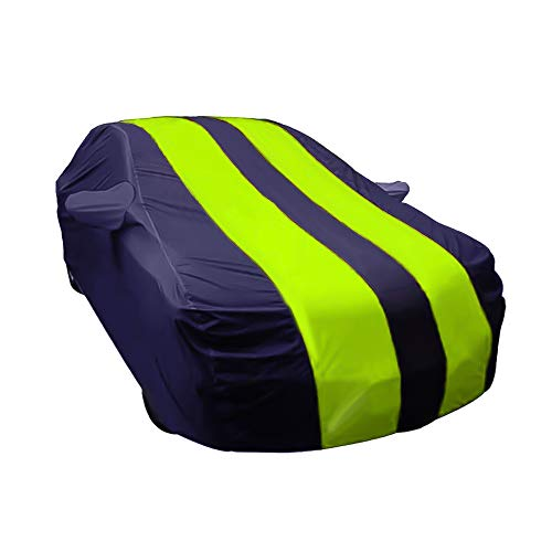 ARNV Branded Car Body Cover for i10 Grand Built Fabric, Comes with Pocket Mirror and Belt Blue & Yellow