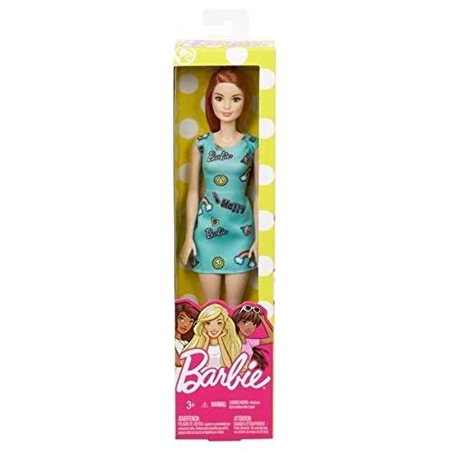 Barbie Fashionista, Muñeca Chic pelirroja vestido azul, juguete +7 años (Mattel FJF18)