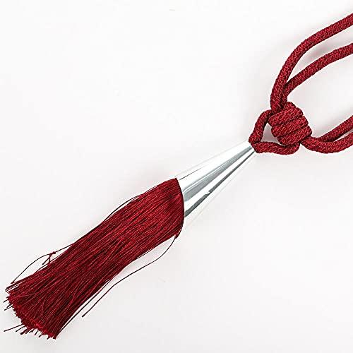 AAPOY Flecos Tieback Cuerda 2 Piezas Corbata Cuerda Corbata Cuerda Cortina Hebilla Correa Colgante Bola Borla Vino Rojo
