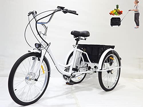 Triciclo elettrico da 24 pollici triciclo con batteria al litio per adulti con cestello posteriore push-pull (può essere usato da solo) 3 ruote progettato per anziani e genitori(white,36V12AH)