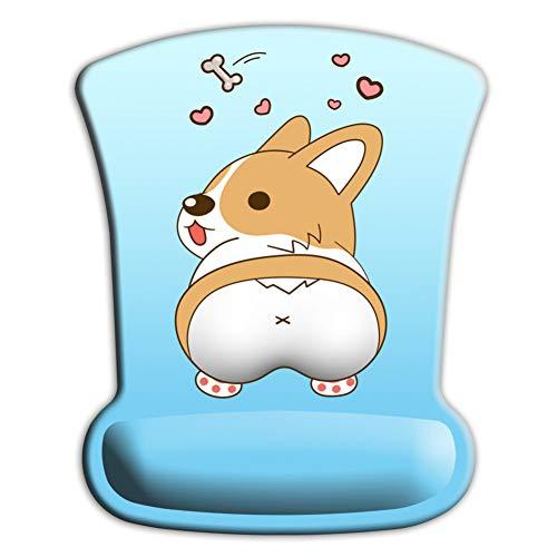 NASHUBIA Cartoon Corgi hond vorm Gel 3D muismat muismat voor laptop -Ergonomische muismat met pols ondersteuning