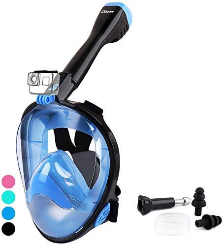 CXhome Máscara de Snorkel, Mascara Snorkel 180° Panorámica Gafas Buceo de Cara Completa Gafas de Bucear Anti-Niebla y Anti-Fugas, Apoyo Camara Deportiva para Adultos y Niños y Hombre (Azul, L/XL)