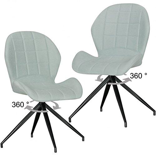 Conjunto de 2 Comedor diseño de la Vendimia preside Yuri 360 ° Acolchada Verde   sillas tapizadas con Patas de Metal y Respaldo   sillas Dobles Cocina