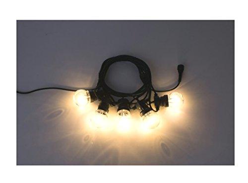 New-Lamps Cordoniera Nera Prolungabile con 5 lampade 3000°K Lunga 5 Metri, 220/24v 4W, Portalampade con Guarnizione per Uso Esterno