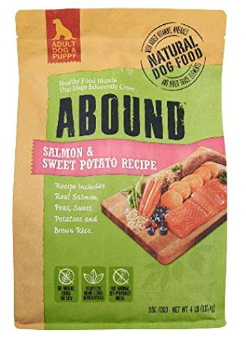 Abound Natural Adult Dog and Puppy Dry Food, Salmon & Sweet Potato Recipe, 4 lbs
