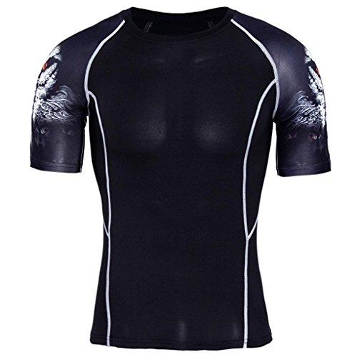 URSING Herren T-Shirt Sportswear Quick Dry Kurzarm Slim Fit Aesthetics Atmungsaktiv Trainingsshirt Funktionsshirt Fitness Sport Laufen Yoga Sportlich Shirt Bluse Top (XL(Asian XL=EU L), Schwarz)