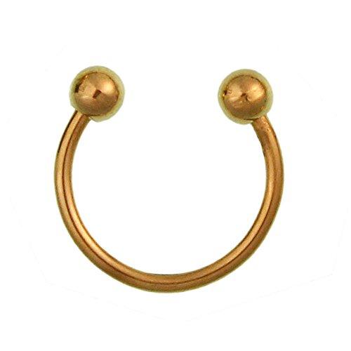 Chic-Net Circular Barbell piercing groot met bolletjes in goud van roestvrij staal hoefijzer