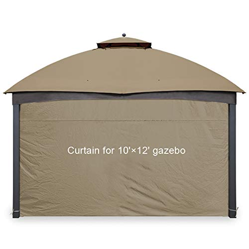 Gafrem Gazebo Universal Replacement Privacy Curtain Panel Side Wall fits 10'x10' and 10'x12' Gazebos (10'x12' Feet, Khaki)