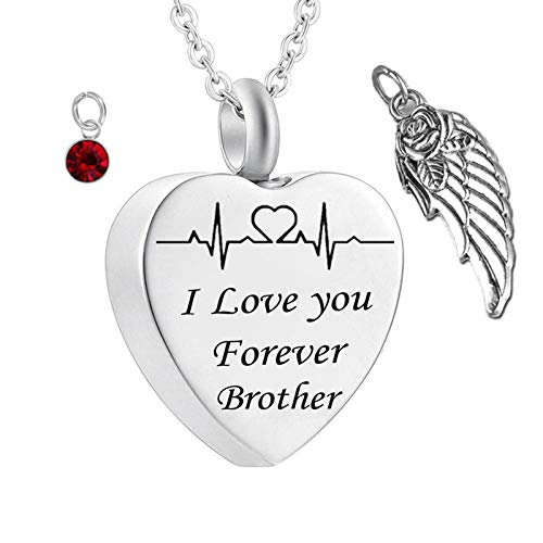 Daesar Stainless Steel Necklace for Women and Men Heart Necklace Angel Wings ECG Customized Necklace Engraving I Love You Forever Brother Customizable Necklace Birthstone January