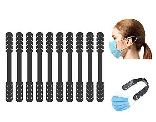 TBOC Verstellbare Maskenverlängerung - [Pack 10 Einheiten] Ohrhaken [Schwarz] Silikon Ohrhalten für Mundschutz Mask Extender zum Verlängern Gummiband mit Einstellschnallen für Hals und Ohr Schmerzen