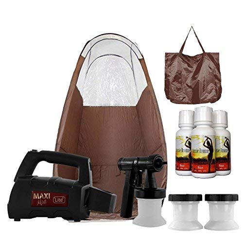 MaxiMist Lite Plus HVLP Sunless Spray Tanning KIT, Tent Machine Airbrush Tan Maximist BRWN