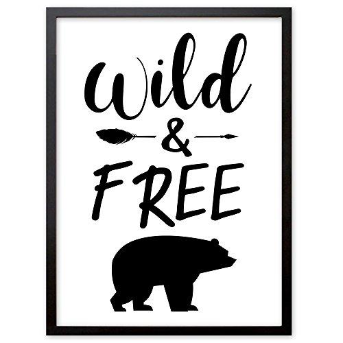 """Booga Baby Poster Kinderzimmer mit Spruch """"Wild & Free"""", DINA4 Babyzimmer Deko"""