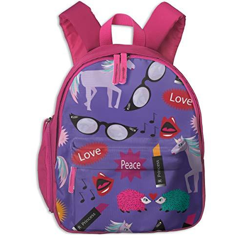 Childrens Backpack for Girls,Unicorn - Wacky Peace Love, Purple, Peacock, Wacky, Zany, Lipstick Hedgehog, Flamingo, Unicorn_4903-applebutterpattycake,for Children's Schools Oxford Cloth (Pink)
