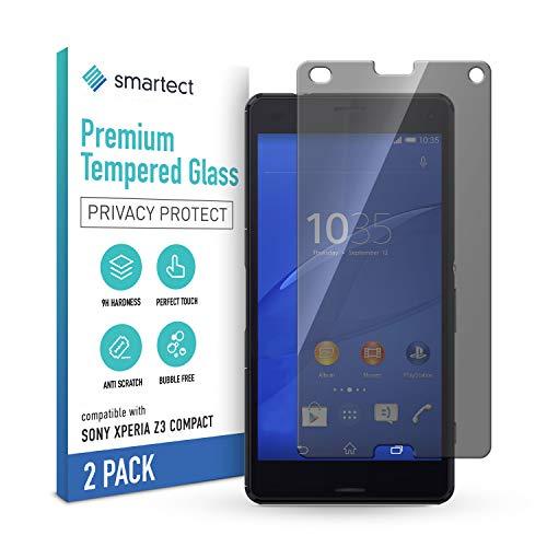 smartect Cristal Templado para Móvil Sony Xperia Z3 Compact [2x PRIVACIDAD] - Protector de pantalla 9H - Diseño ultrafino - Instalación sin burbujas - Anti-huella