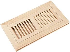 Homewell Hickory Wood Floor Register, Flush Mount Floor Vent Cover, 4X10 Inch, No Damper, Unfinished