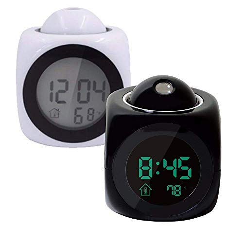 Unique Fashion Plastic Digital Projection & Speaking Alarm Clock with Time and Temperature Display Talking Function Alarm Clock with Multi-Function Clock (Black Or White) (Color May Vary)