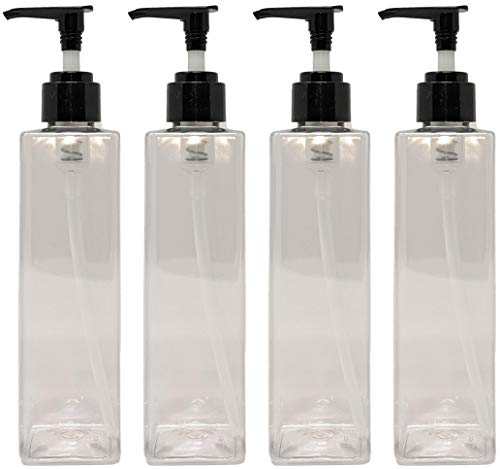 4 Pack Refillable Clear Square 8 Oz. PET Plastic Pump Bottle With Patented Screw On Funnel-By Earth's Essentials
