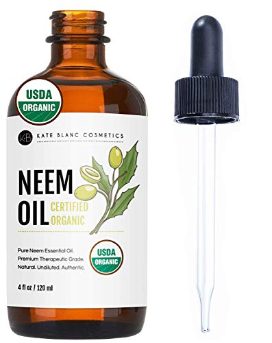 Neem Oil (4oz) by Kate Blanc. USDA Certified Organic, Virgin, Cold Pressed, 100% Pure. Great for Hair, Skin, Nails, Acne and Plants. Natural Anti Aging Moisturizer