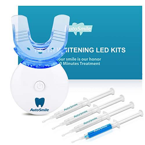 AutoSmile Teeth Whitening Kit | Professionelle Home-Zahnaufhellungs-Set mit Hochwertigem LED Licht und 4 Zahnaufhellungs-Gel